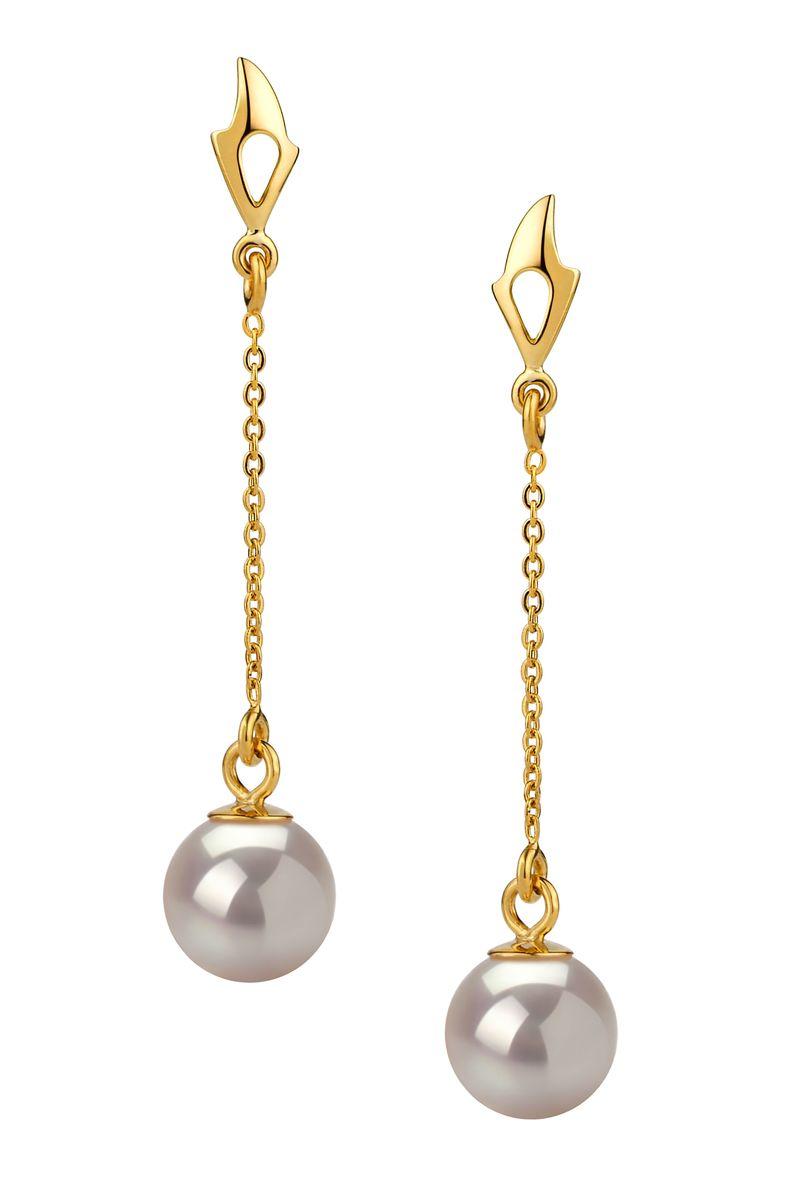 6-7mm AA Quality Japanese Akoya Cultured Pearl Earring Pair in Misha White
