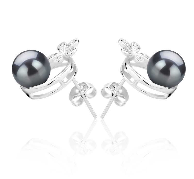 7-8mm AAAA Quality Freshwater Cultured Pearl Earring Pair in Molly Black