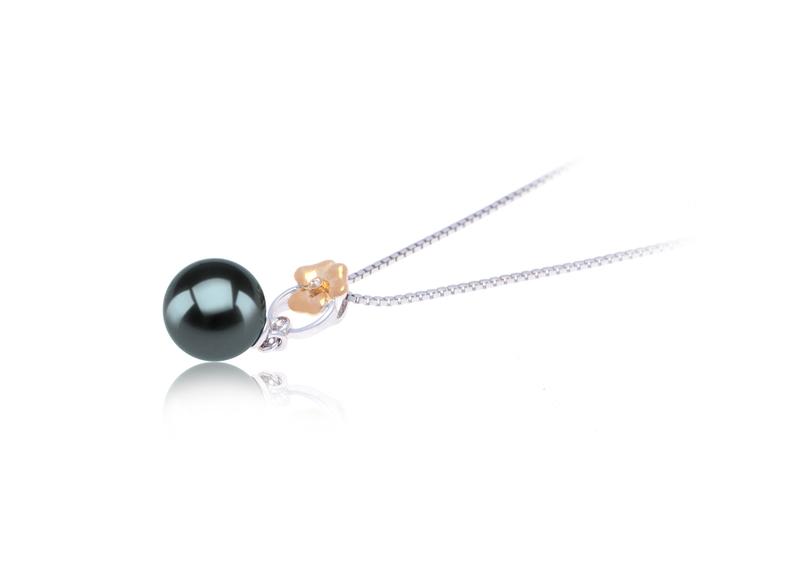 9-10mm AAA Quality Tahitian Cultured Pearl Pendant in Pamela Black