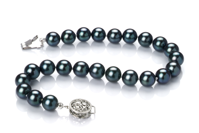 6.5-7mm AAA Quality Japanese Akoya Cultured Pearl Bracelet in Black