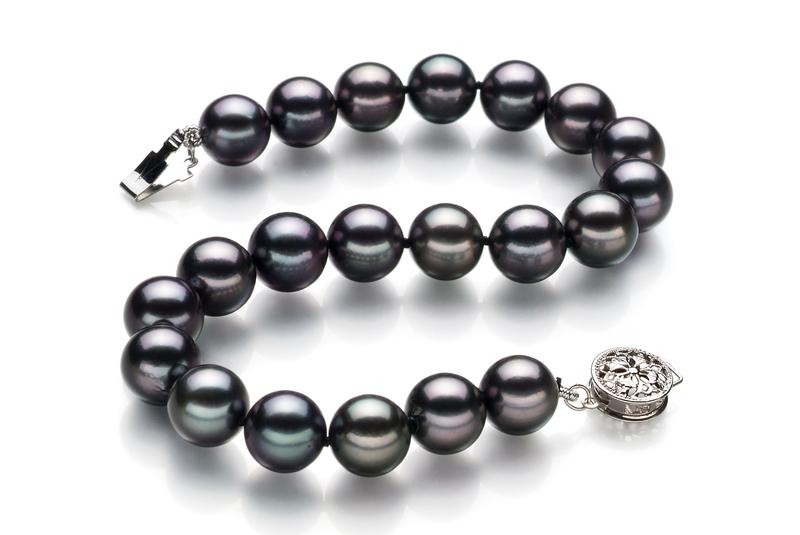8-8.5mm AAA Quality Japanese Akoya Cultured Pearl Bracelet in Black