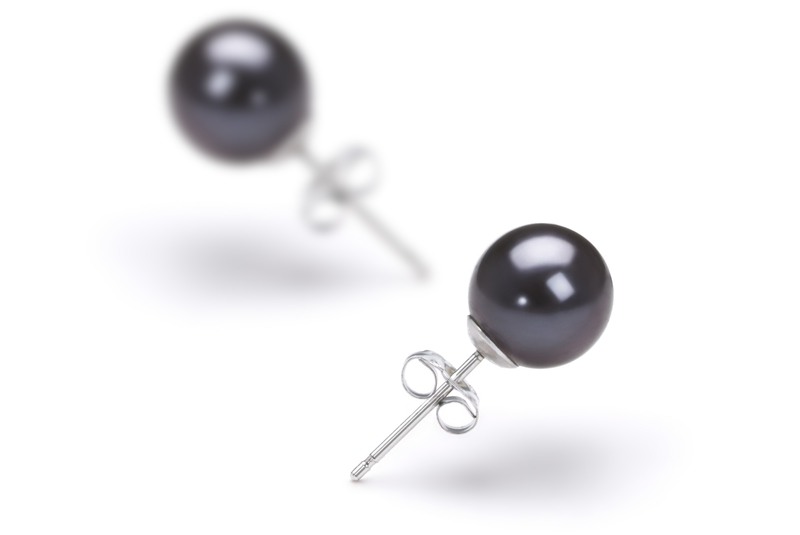 PearlsOnly - Black 7-8mm AAAA Quality Freshwater Cultured Pearl Earring Pair Pearl Earring Set