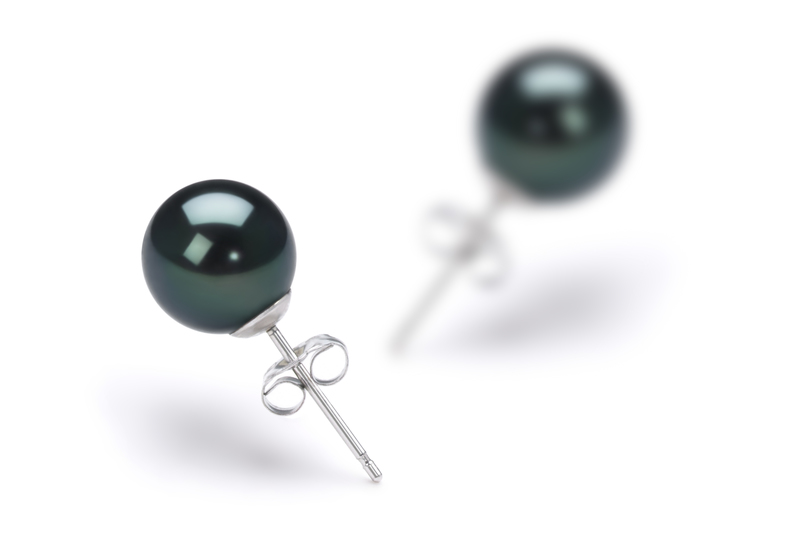 7-8mm AA Quality Japanese Akoya Cultured Pearl Earring Pair in Black