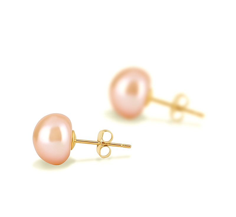 PearlsOnly - Pink 8-9mm AAA Quality Freshwater Cultured Pearl Earring Pair Pearl Earring Set