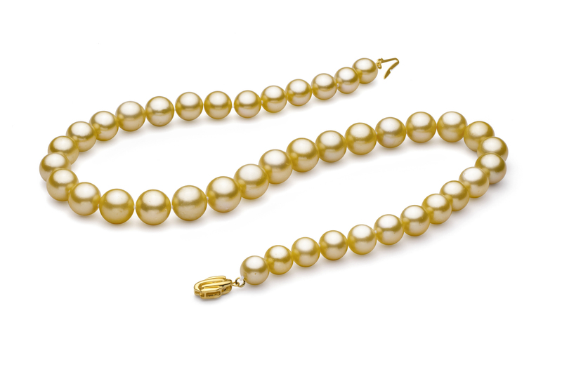 9-11.7mm AAA Quality South Sea Cultured Pearl Necklace in Gold