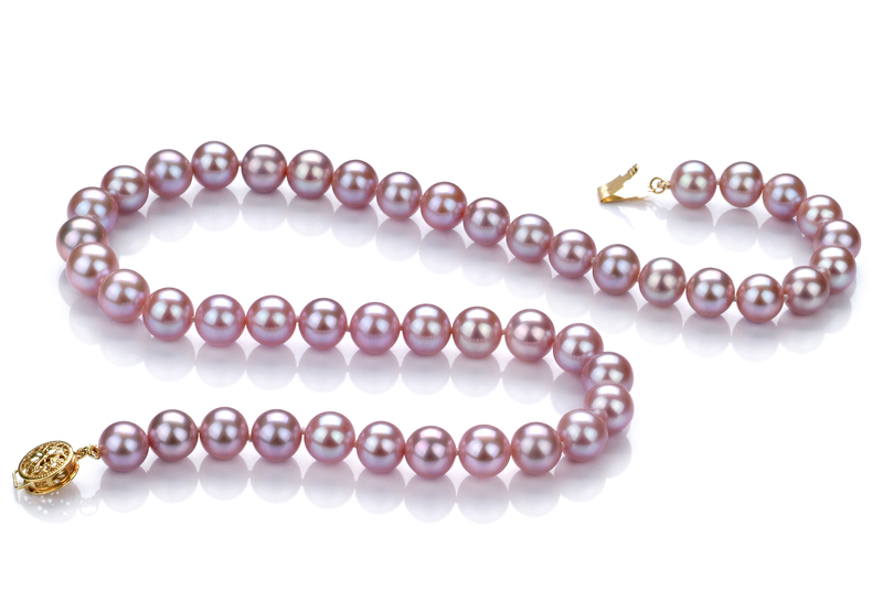 PearlsOnly - Lavender 8.5-9.5mm AAA Quality Freshwater 14K Yellow Gold Cultured Pearl Necklace