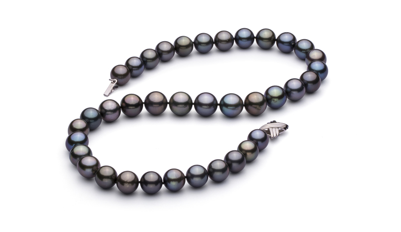 11.1-12.5mm AAA Quality Tahitian Cultured Pearl Necklace in Multicolor
