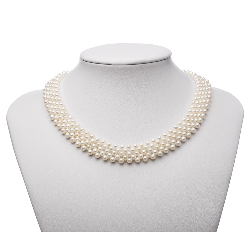 PearlsOnly - Five Row White 3-4mm AA Quality Freshwater Cultured Pearl Necklace
