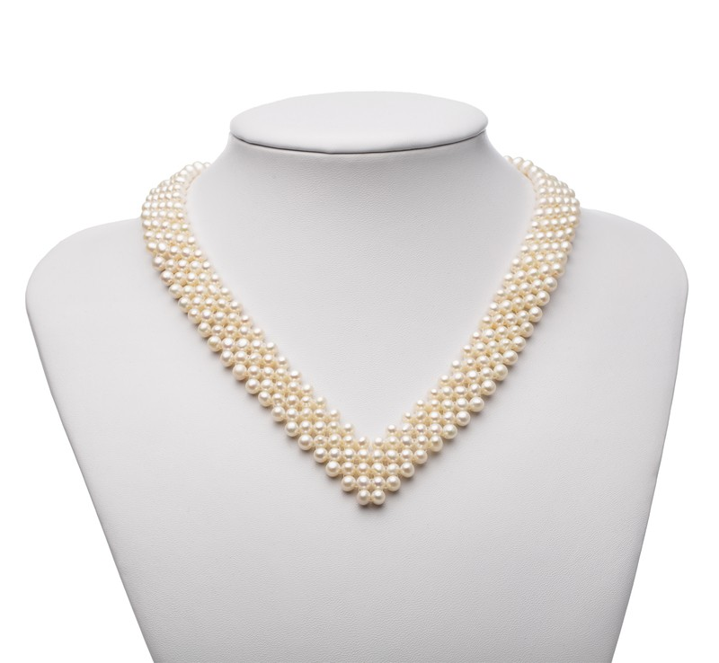 PearlsOnly - V-Neck White 3-4mm AA Quality Freshwater Cultured Pearl Necklace
