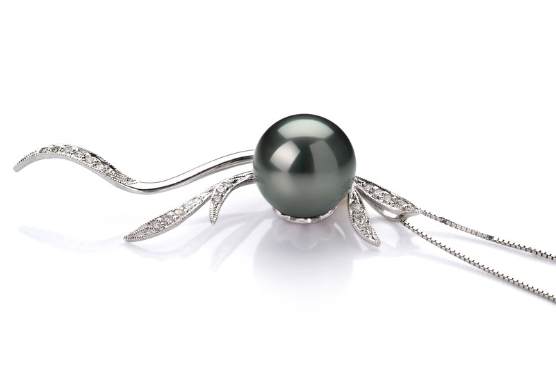 10-10.5mm AAA Quality Tahitian Cultured Pearl Pendant in Florence Black