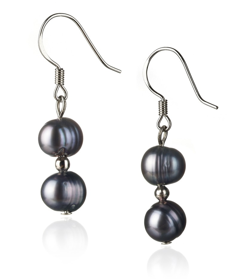 6-7mm A Quality Freshwater Cultured Pearl Set in Black