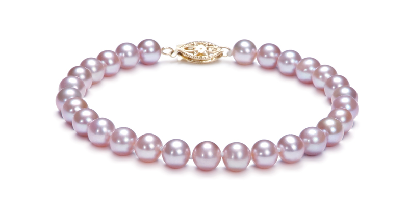 6-6.5mm AA Quality Freshwater Cultured Pearl Set in Lavender