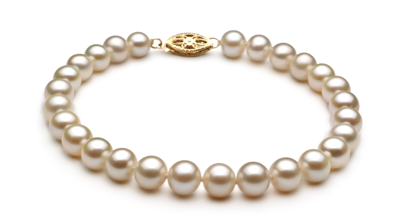 PearlsOnly - White 6-7mm AA Quality Freshwater Cultured Pearl Set
