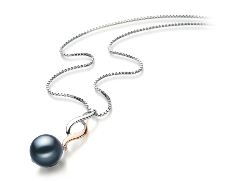 8-9mm AA Quality Japanese Akoya Cultured Pearl Pendant in Pennie Black