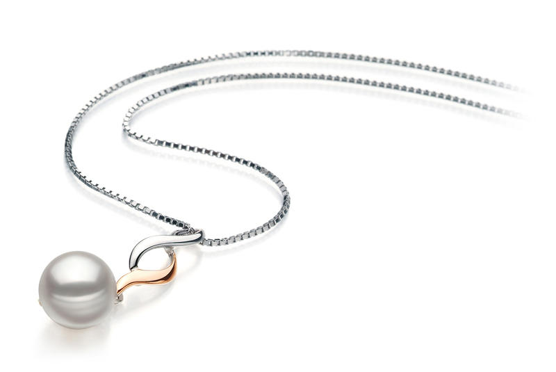 8-9mm AA Quality Japanese Akoya Cultured Pearl Pendant in Pennie White