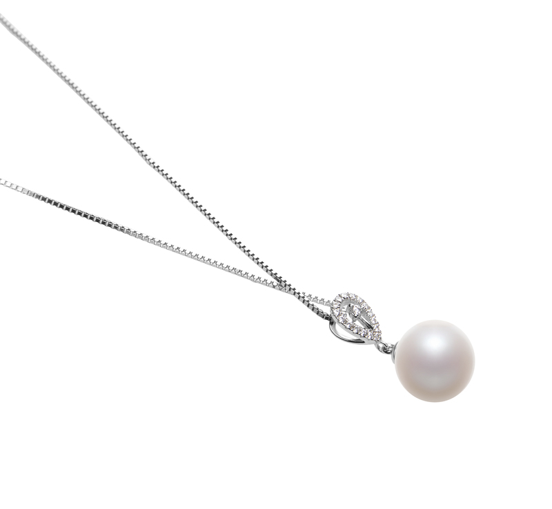10-11mm AAAA Quality Freshwater Cultured Pearl Pendant in Regina White