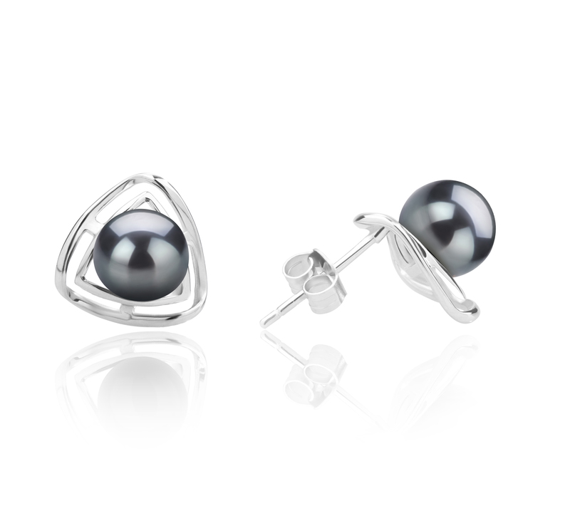 6-7mm AAAA Quality Freshwater Cultured Pearl Earring Pair in Rowan Black