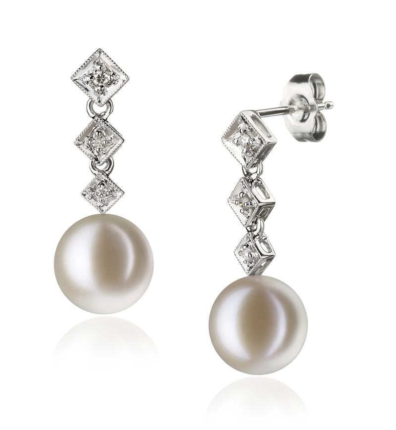 Rozene White 9-10mm AAAA Quality Freshwater 14K White Gold Cultured Pearl Earring Pair Pearl Earring Set