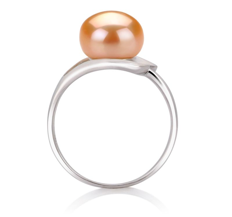 PearlsOnly - Sadie Pink 9-10mm AA Quality Freshwater 925 Sterling Silver Cultured Pearl Ring
