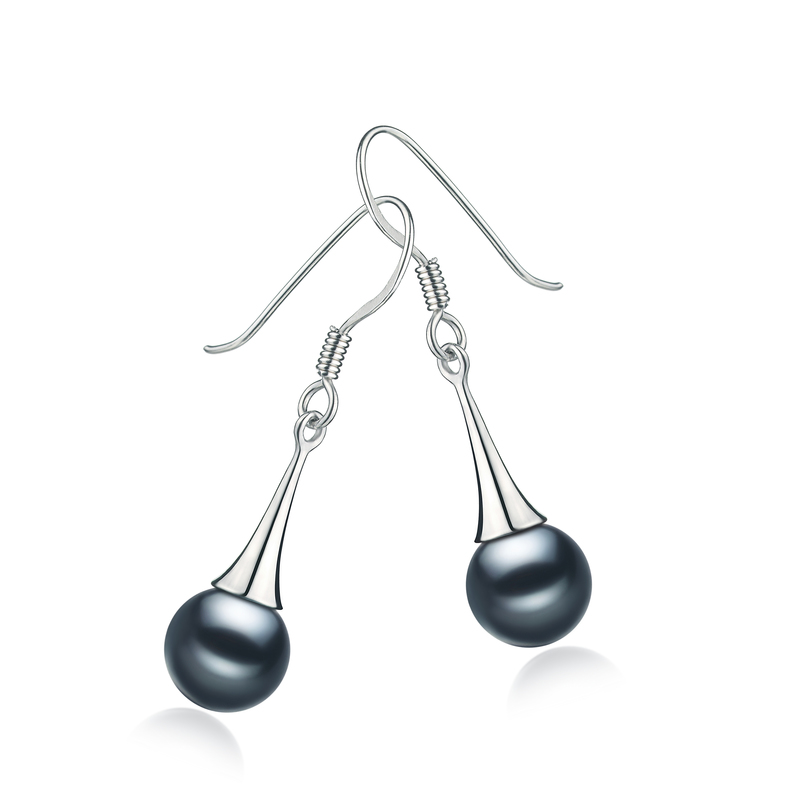 7-8mm AAAA Quality Freshwater Cultured Pearl Earring Pair in Sandra Black
