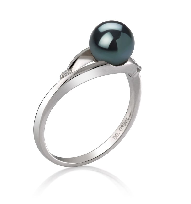 PearlsOnly - Tanya Black 6-7mm AA Quality Japanese Akoya 14K White Gold Cultured Pearl Ring