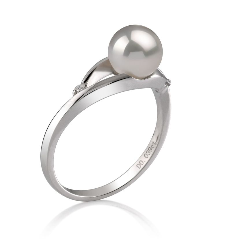PearlsOnly - Tanya White 6-7mm AA Quality Japanese Akoya 14K White Gold Cultured Pearl Ring