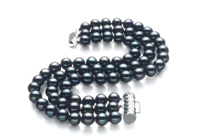 6-7mm AA Quality Freshwater Cultured Pearl Bracelet in Triple Strand Black