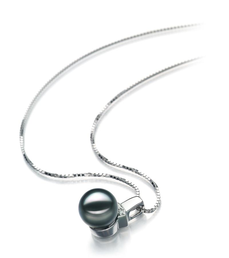 8-9mm AAA Quality Japanese Akoya Cultured Pearl Pendant in Vivian Black