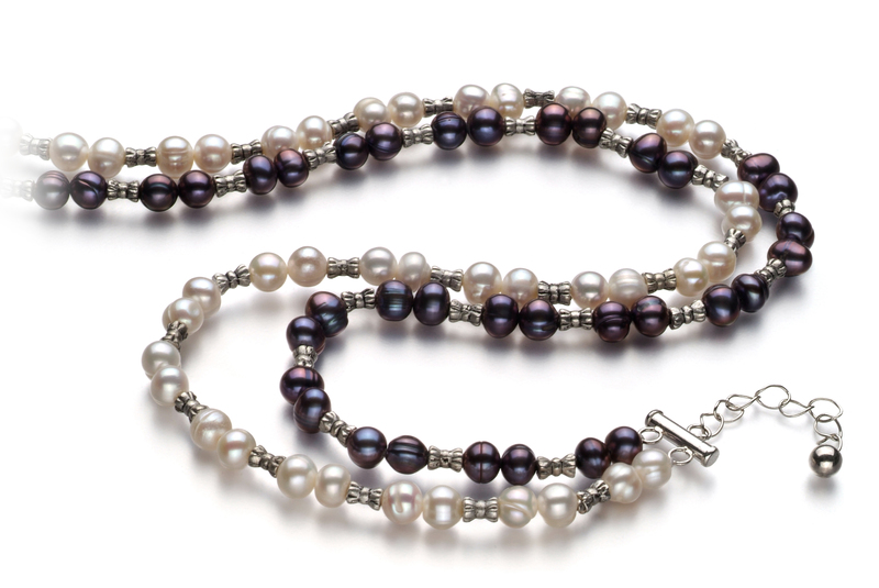 6-7mm A Quality Freshwater Cultured Pearl Necklace in YinYang Black