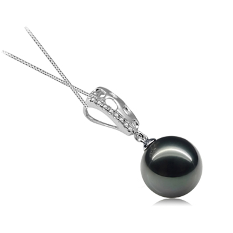 Zuella Black 10-11mm AAA Quality Tahitian 14K White Gold Cultured Pearl Pendant