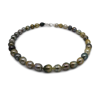 8-10mm Baroque Quality Tahitian Cultured Pearl Necklace in 16-inch Multicolor