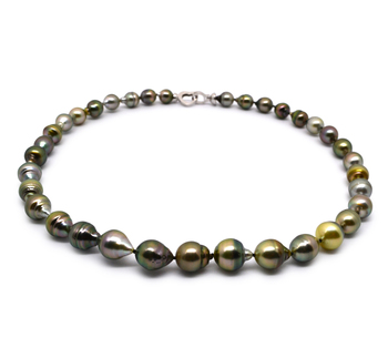 8-10mm Baroque Quality Tahitian Cultured Pearl Necklace in 17-inch Multicolor