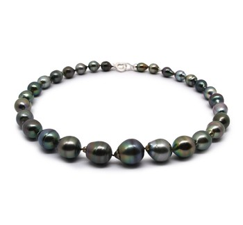 8-14mm Baroque Quality Tahitian Cultured Pearl Necklace in 17-inch Multicolor