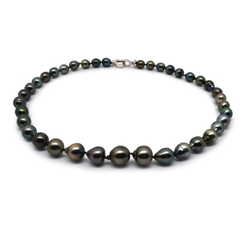 8-11mm Baroque Quality Tahitian Cultured Pearl Necklace in 17.5-inch Multicolor