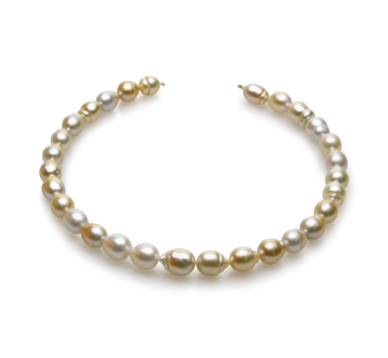 10.4-13mm Baroque Quality South Sea Cultured Pearl Necklace in 18-inch Multicolor