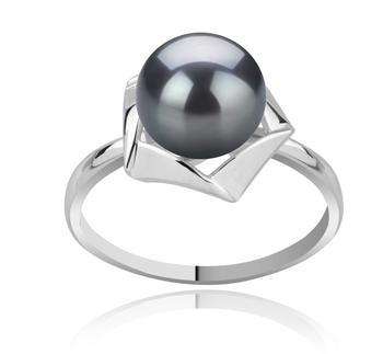 8-9mm AAA Quality Freshwater Cultured Pearl Ring in Anais Black