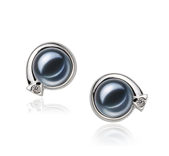 Angelina Black 7-8mm AAAA Quality Freshwater 925 Sterling Silver Cultured Pearl Earring Pair Pearl Earring Set