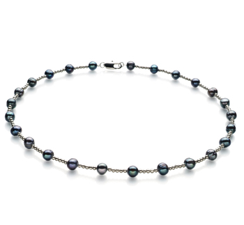 65b2b502d86cab 6-7mm A Quality Freshwater Cultured Pearl Necklace in Atina Black for Sale  | Pearls Only