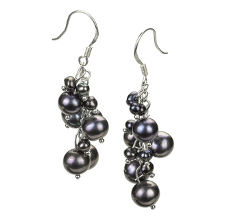 PearlsOnly - Brisa Black 3-7mm A Quality Freshwater Alloy Cultured Pearl Earring Pair Pearl Earring Set