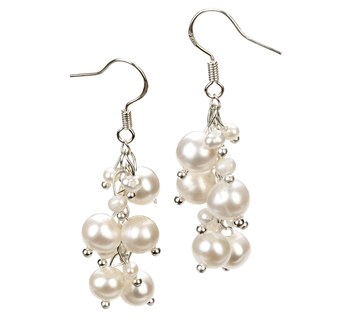 PearlsOnly - Brisa White 3-7mm A Quality Freshwater Alloy Cultured Pearl Earring Pair Pearl Earring Set