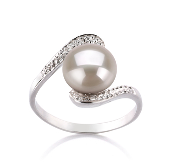 PearlsOnly - Chantel White 9-10mm AA Quality Freshwater 925 Sterling Silver Cultured Pearl Ring