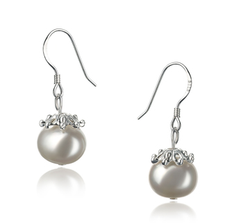 PearlsOnly - Connor White 8-9mm A Quality Freshwater 925 Sterling Silver Cultured Pearl Earring Pair Pearl Earring Set