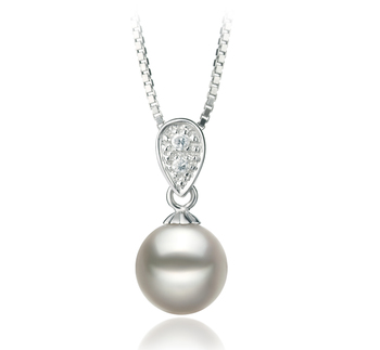 7-8mm AA Quality Japanese Akoya Cultured Pearl Pendant in Daria White