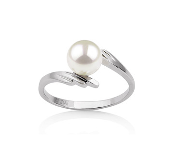PearlsOnly - Daron White 6-7mm AAA Quality Japanese Akoya 14K White Gold Cultured Pearl Ring