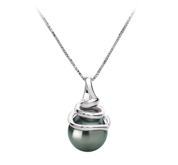 8-9mm AAA Quality Tahitian Cultured Pearl Pendant in Demetria Black