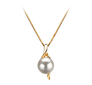 PearlsOnly - Dinah White 6-7mm AAA Quality Japanese Akoya 14K Yellow Gold Cultured Pearl Pendant