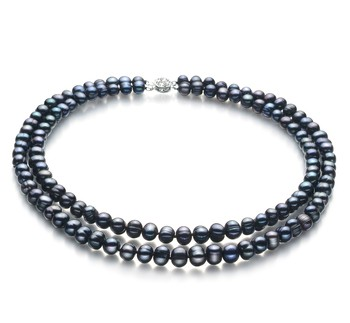 PearlsOnly - Double Strand Black 6-7mm A Quality Freshwater Cultured Pearl Necklace