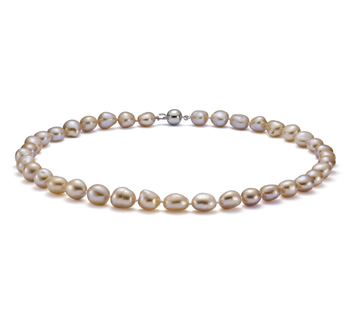 10-11mm Baroque Quality Freshwater Cultured Pearl Necklace in Drop Pink