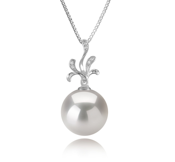 12-13mm AA+ Quality Freshwater - Edison Cultured Pearl Pendant in Ebony White