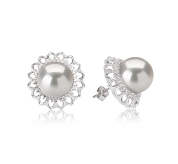 12-13mm AA+ Quality Freshwater - Edison Cultured Pearl Earring Pair in Edison Margot White